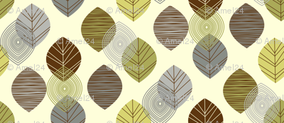 linear leaves neutral wallpaper cream