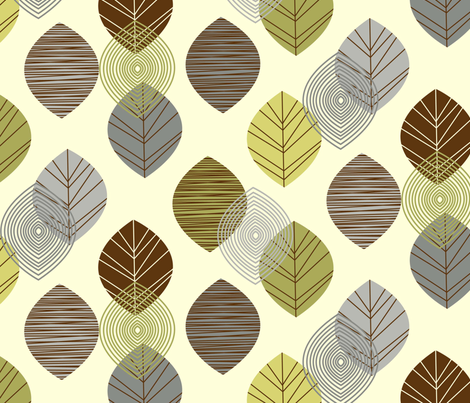 linear leaves neutral wallpaper cream fabric by amel24 on Spoonflower - custom fabric