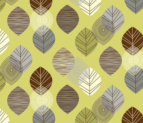 linear leaves neutral wallpaper lime fabric by amel24 on Spoonflower - custom fabric