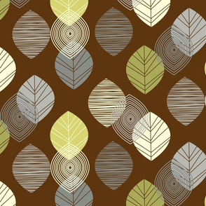 linear leaves neutral wallpaper brown