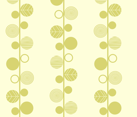 Linear leaves neutral wallpaper cream lime fabric by amel24 on Spoonflower - custom fabric