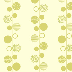 Linear leaves neutral wallpaper cream lime