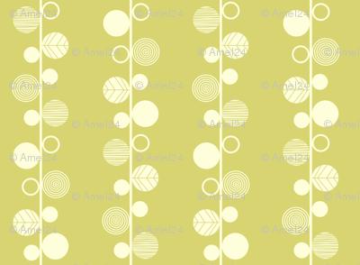 Linear leaves neutral wallpaper lime cream