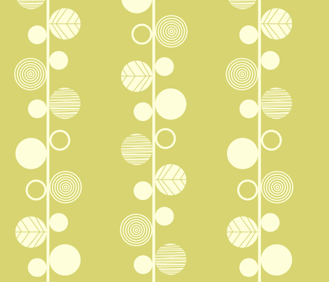 Linear leaves neutral wallpaper lime cream fabric by amel24 on Spoonflower - custom fabric