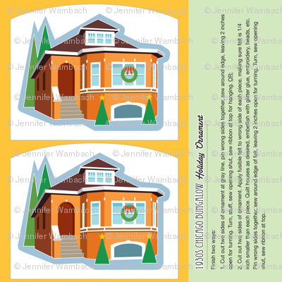 Memories of home ornament 1930s chicago style bungalow for Chicago style bungalow floor plans