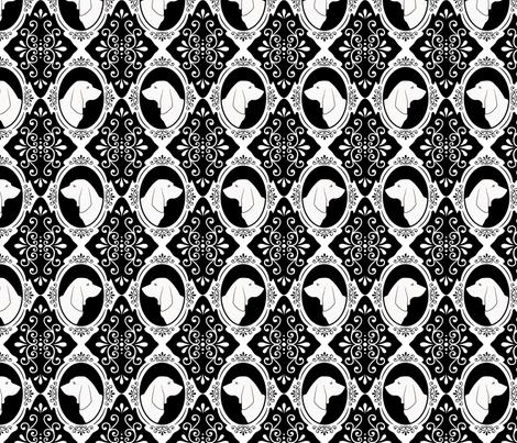 The Regal Basset Hound (White) fabric by robyriker on Spoonflower - custom fabric
