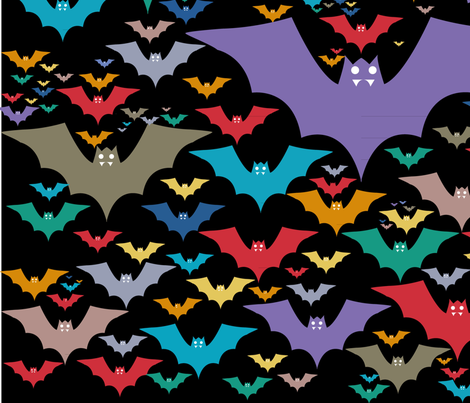 bats-color(blk) fabric by karmacranes on Spoonflower - custom fabric