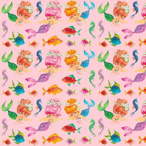 Mermaid Sparkles Pink Paris Bebe fabric by parisbebe on Spoonflower - custom fabric