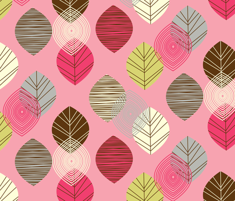 linear leaves bright wallpaper pink fabric by amel24 on Spoonflower - custom fabric