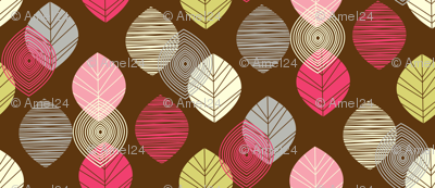 linear leaves bright wallpaper brown