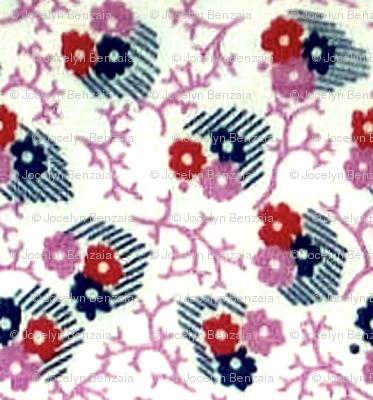 1940s Three flowers & leaves