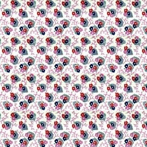 1940s Three flowers & leaves