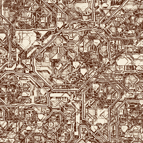 Steampunk Maze 2, L fabric by animotaxis on Spoonflower - custom fabric