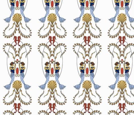 ArtNouveau_mermaids fabric by yvonne_herbst on Spoonflower - custom fabric
