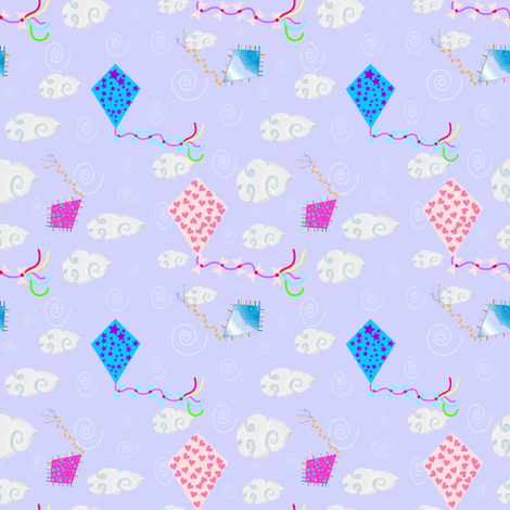 Kites in blue sky fabric by pedrapapeltesoura on Spoonflower - custom fabric