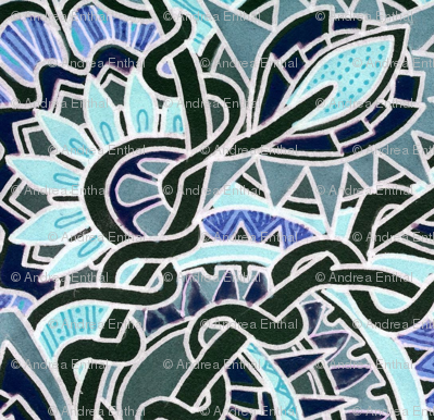 Blue Mosaic Tiled Garden