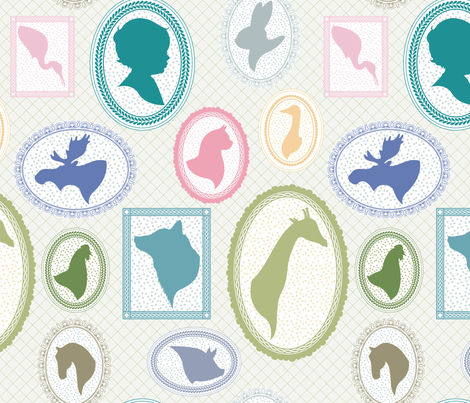 ANIMAL_CAMEOS fabric by natasha_k_ on Spoonflower - custom fabric
