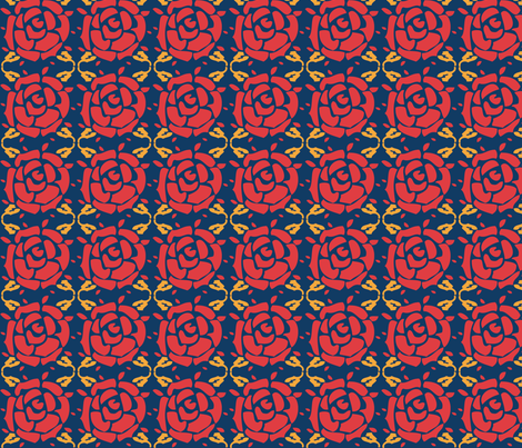 Roses_blue fabric by valmo on Spoonflower - custom fabric