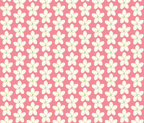 Chirping Floral Soft Coral fabric by cksstudio80 on Spoonflower - custom fabric