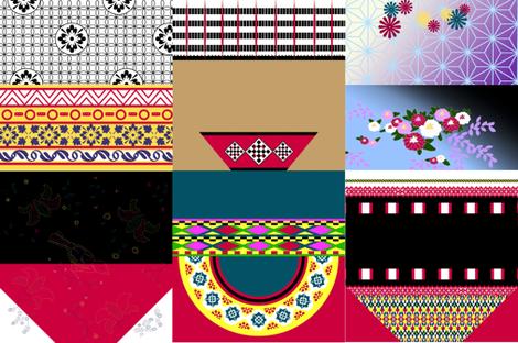 International Friends Handkerchief Dolls (wide fabric) fabric by evenspor on Spoonflower - custom fabric