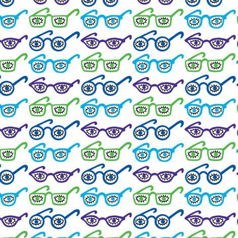Eyeglasses - 4 eyes - blue fabric by andibird on Spoonflower - custom fabric