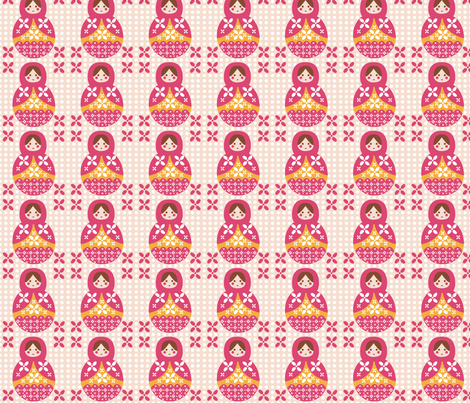 Matrioshka_pink_orange fabric by valmo on Spoonflower - custom fabric