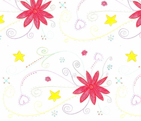 flower_drawing-e fabric by saverill73 on Spoonflower - custom fabric