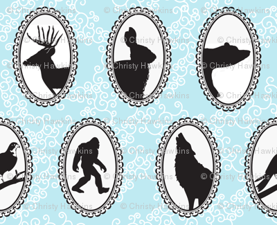 Blue Cameo Woodland Creatures