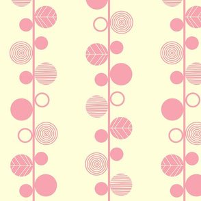 linear leaves bright wallpaper cream pink