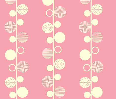 Linear leaves bright wallpaper pink cream fabric by amel24 on Spoonflower - custom fabric