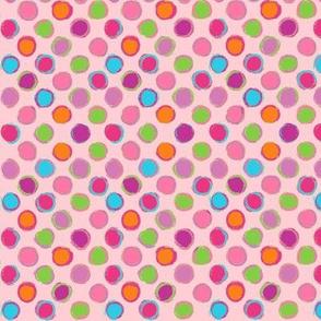 Chalk DOTS pink POLKA dots Paris Bebe Fabrics