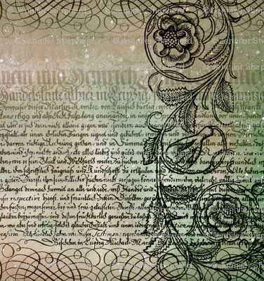 Just the text, scrollwork, and roses (greenish)