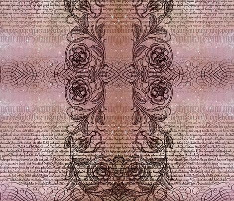 Just the text, scrollwork, and roses (rosy) fabric by jenithea on Spoonflower - custom fabric