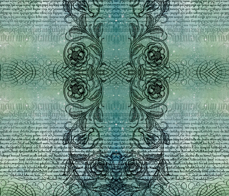 Just the text, scrollwork, and roses (teal) fabric by jenithea on Spoonflower - custom fabric