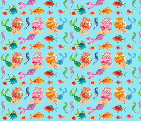Mermaid Aqua Sparkles sea Paris Bebe Fabrics fabric by parisbebe on Spoonflower - custom fabric