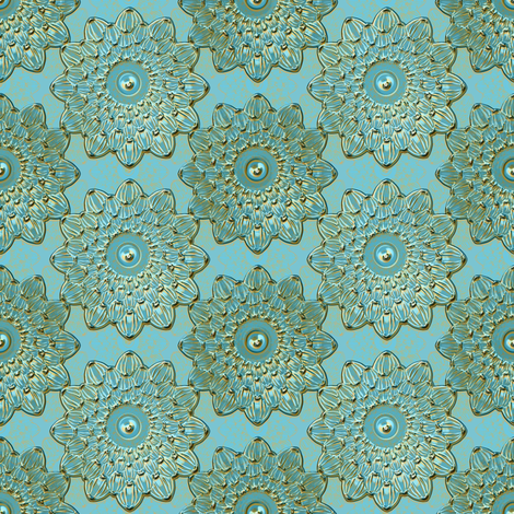 Floral Antique teal patina fabric by joanmclemore on Spoonflower - custom fabric