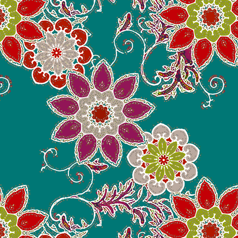Frosted Garden in teal fabric by joanmclemore on Spoonflower - custom fabric