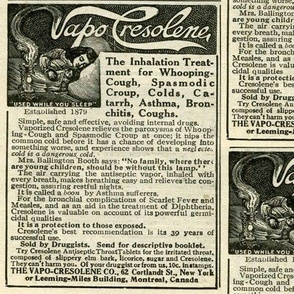 1918 Vapo Cresolene quack medicine advertisement