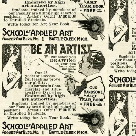 1918 Art School Advertisement fabric by edsel2084 on Spoonflower - custom fabric