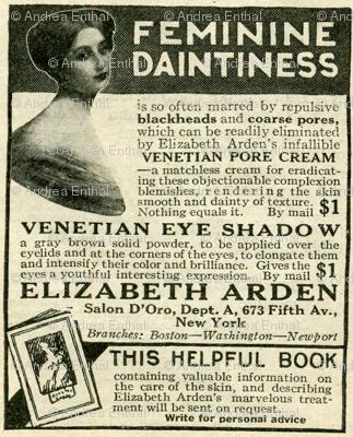 1918 Feminine Daintiness Cosmetics Advertisement Fabric