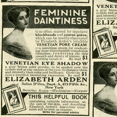 1918 Feminine Daintiness Cosmetics Advertisement fabric by edsel2084 on Spoonflower - custom fabric