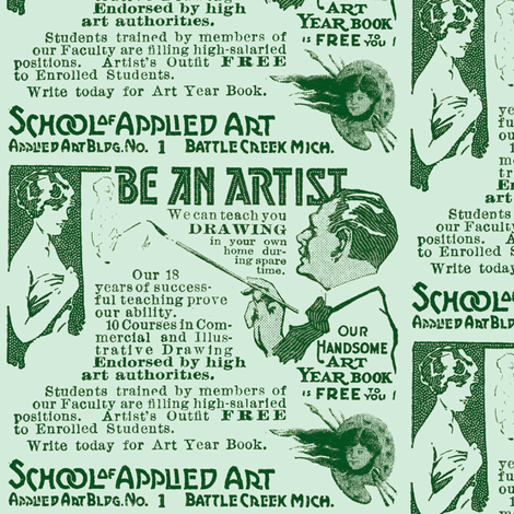 Be An Artist 1918 Advertisement fabric by edsel2084 on Spoonflower - custom fabric