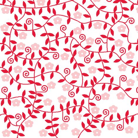 Pink & Red garden flowers fabric by squeakyangel on Spoonflower - custom fabric