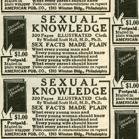 1918 advertisement for sexual knowledge book fabric by edsel2084 on Spoonflower - custom fabric