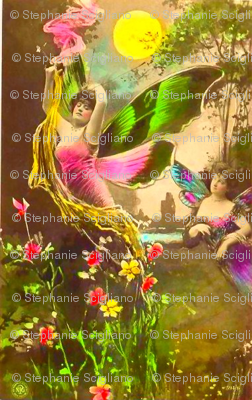 Victorian Butterfly Woman with Flowers