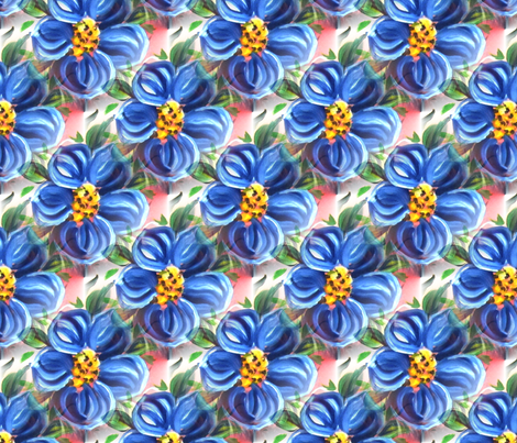 blue_painted_flower fabric by vinkeli on Spoonflower - custom fabric