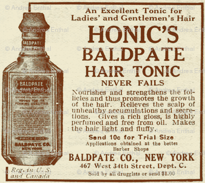Honic's Baldpate Hair Tonic 1918 advertisement
