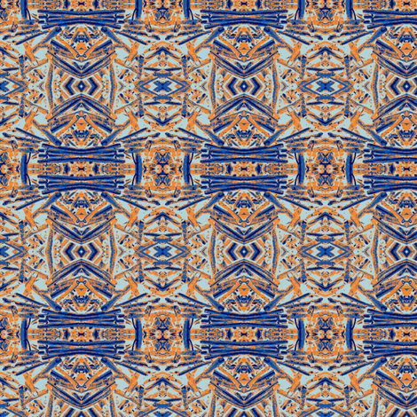 Blue and Orange Coral fabric by olivemlou on Spoonflower - custom fabric