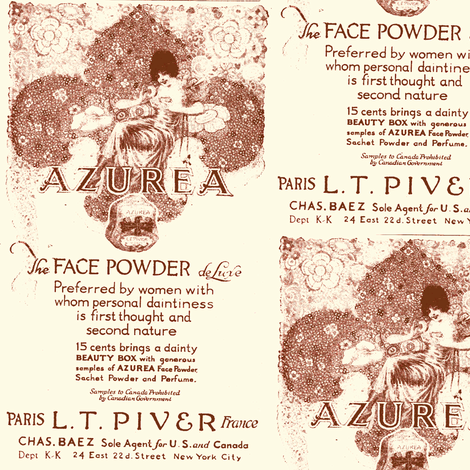 1918 Azurea Face Powder advertisement fabric by edsel2084 on Spoonflower - custom fabric