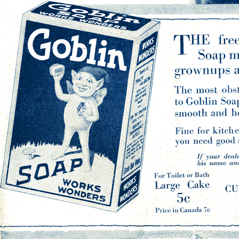 1918 Goblin Soap advertisement  fabric by edsel2084 on Spoonflower - custom fabric